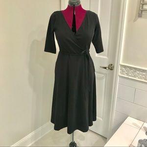 EShakti Black Midi Wrap Dress w/ Pockets Sz 8